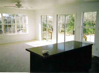 View of living room from kitchen island